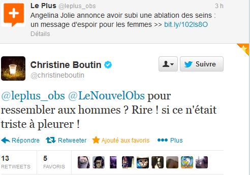 Tweet Christine Boutin Angelina Jolie