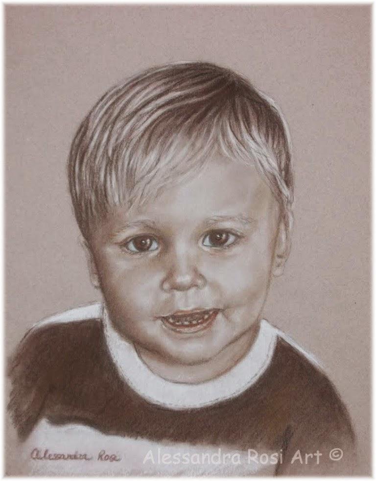 Children's commissioned portraits in sepia pencil
