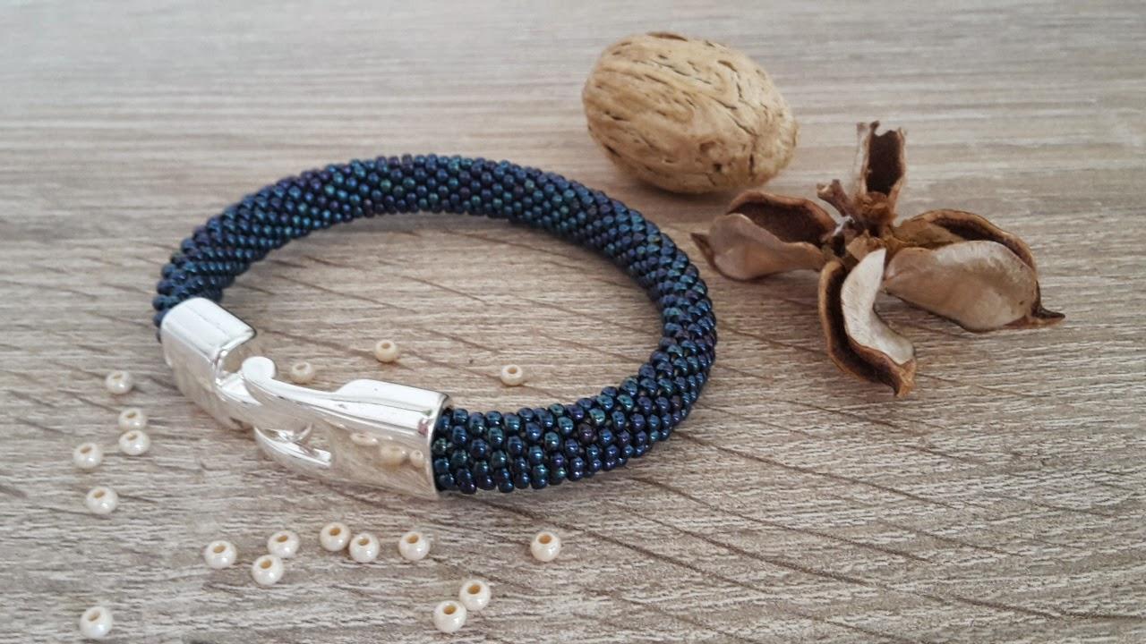 Bransoletka sznur szydełkowo - koralikowy toho koraliki 2 mm niebieskie