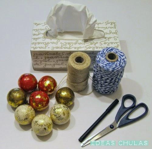 Materiales para hacer la guirnalda de fantasmas