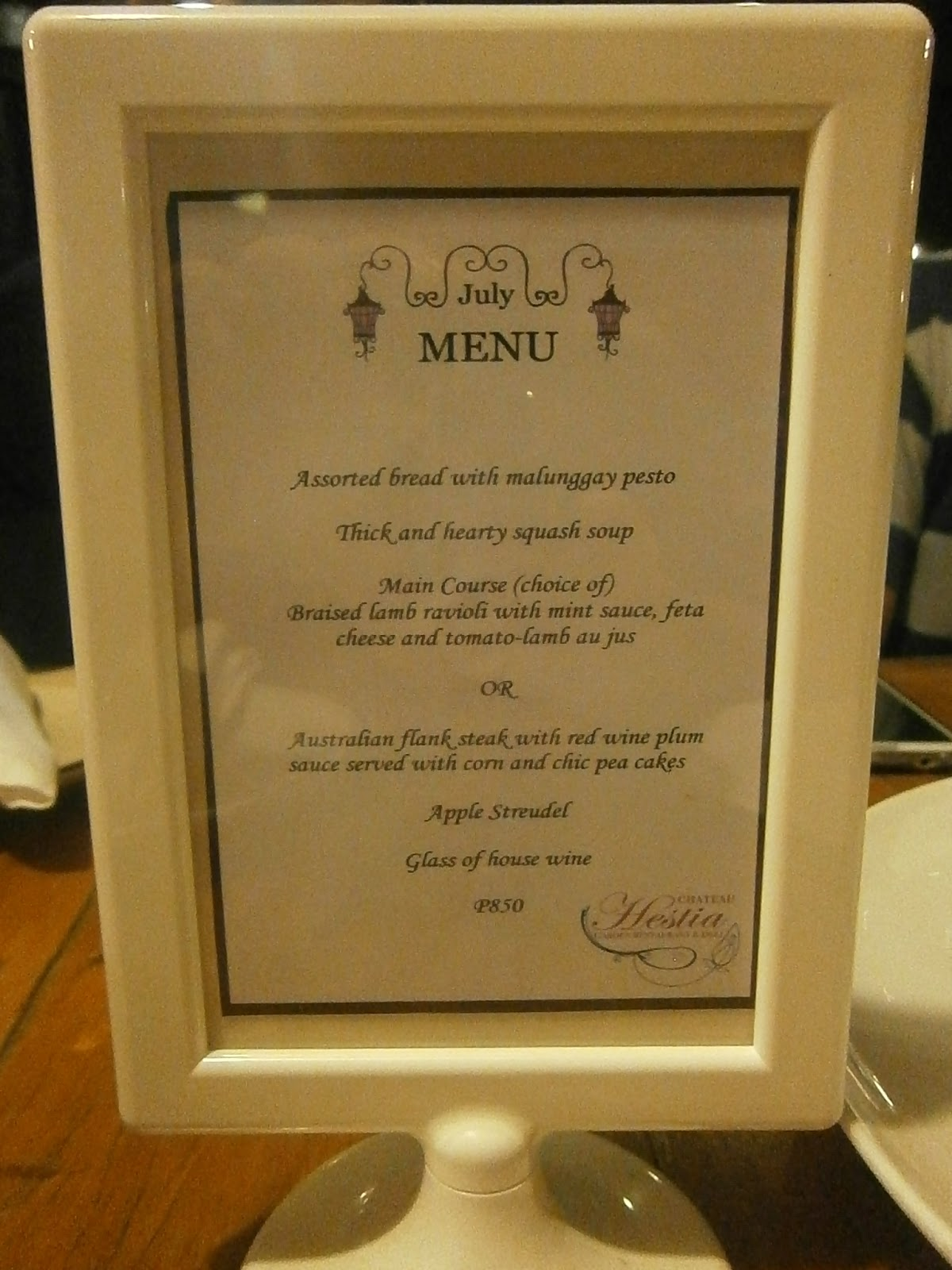 Photoescape Travels...: Food options at Chateau Hestia: Dinner Menu