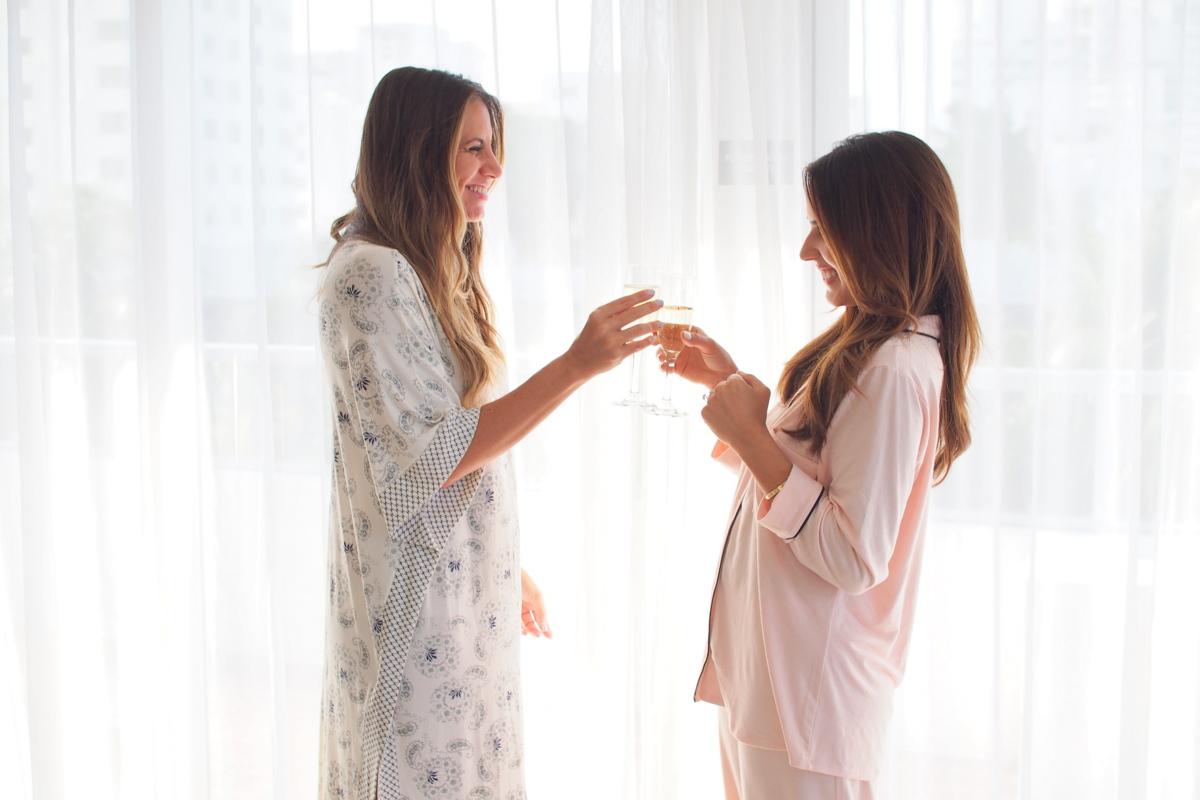 luxury pajamas champagne toast