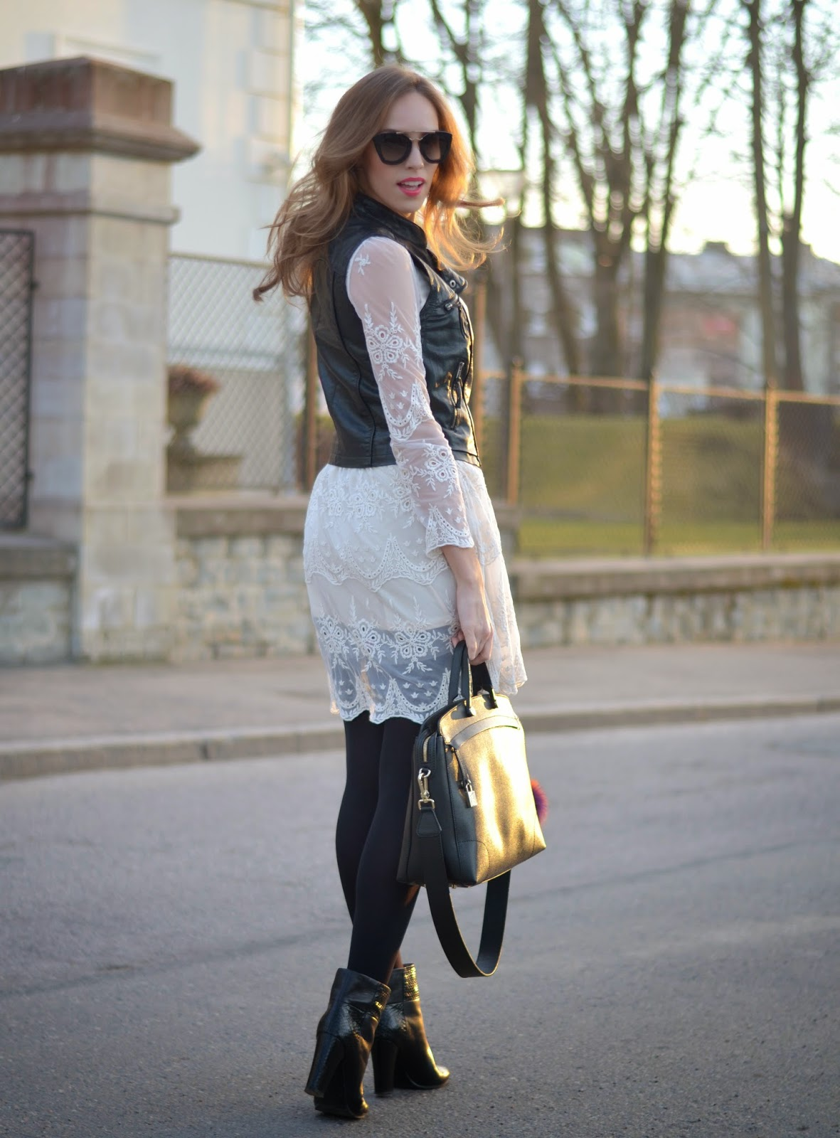 chicwish-white-lace-dress-bershka-leather-vest kristjaana mere