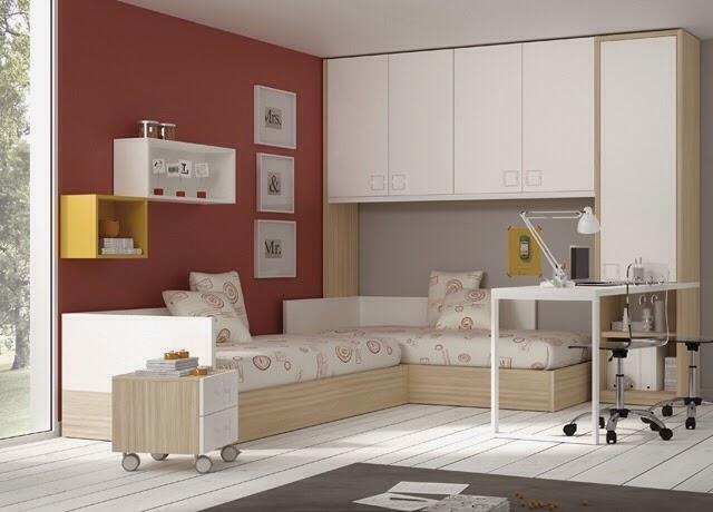 Habitacion con camas cruzadas y puente for Mueble puente juvenil