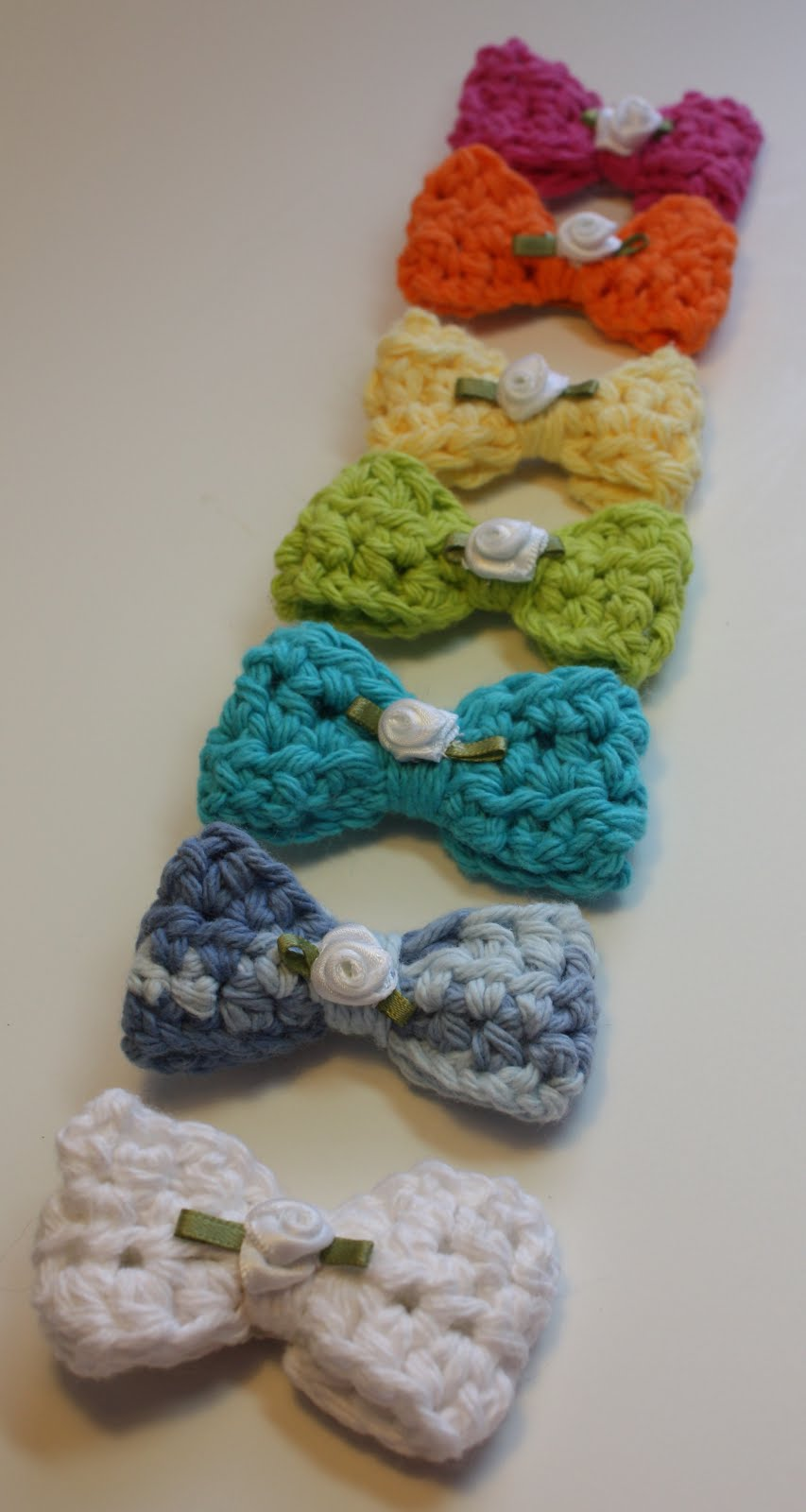 ... and Ink: A rainbow of colors of Crocheted Hair Bows for little girls