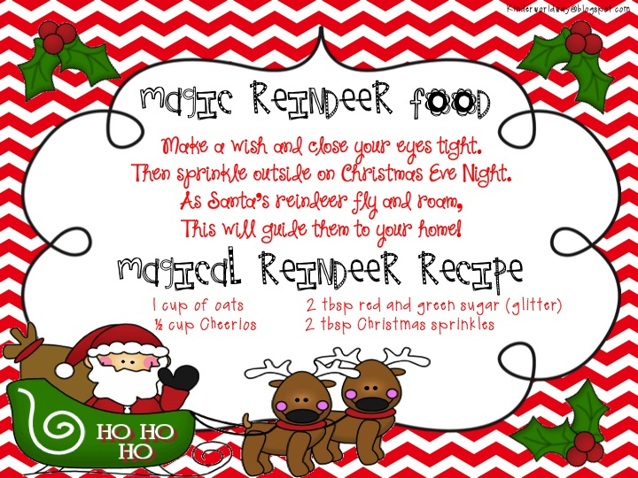 KINDERWORLD: Magic Reindeer Poem and Recipe Card