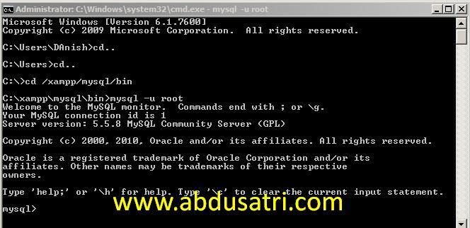 cara memanggil mysql dari command prompt