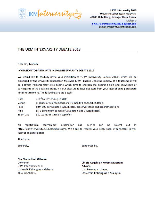 Ukm intervarsity 2013 invitation letter for ukm intervarsity invitation letter for ukm intervarsity debate tournament stopboris Image collections