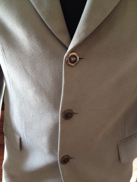 Button on Grey suede jacket, new button trend, mixed buttons, awesome grey jacket