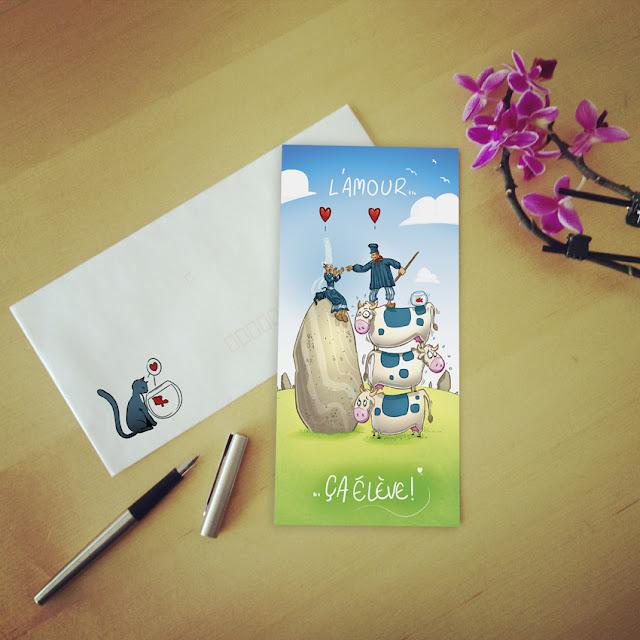 illustration pour un faire part de mariage - un normant amoureux d'une bretonne