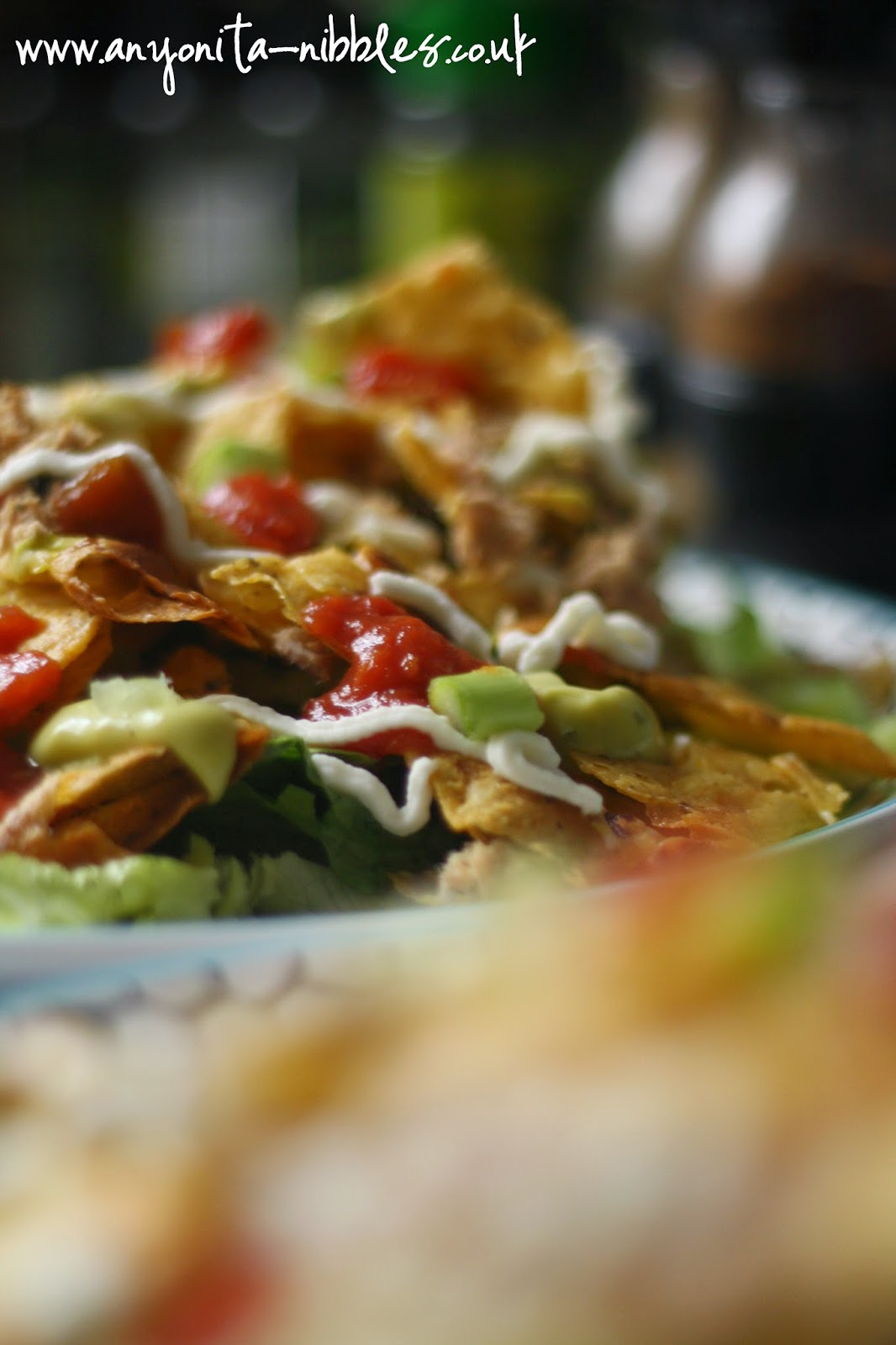 Fully loaded gluten free tuna nacho salad from Anyonita-nibbles.co.uk