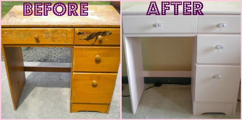 Charming My First Furniture Redo: Pretty Pink Desk