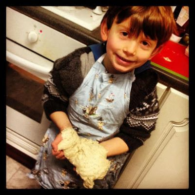 kids baking - making bread