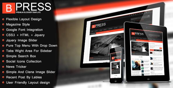 Bpress v1.6 Responsive Magazine Blogger Template
