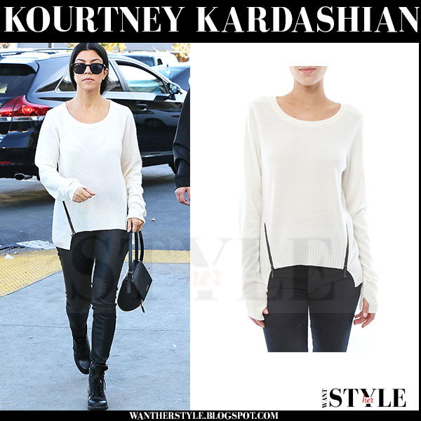 Kourtney Kardashian in white knit zipper sweater and leather pants ...