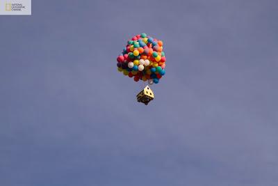 la casa de up con globos reales