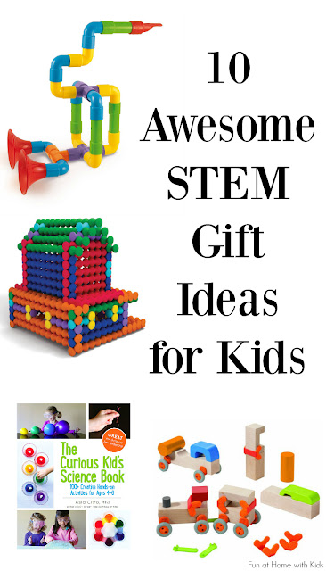 10 awesome STEM gift ideas for kids from a science teacher!  This gift guide includes recommended ages and a little bit about what STEM skills kids are learning with each of the gifts.