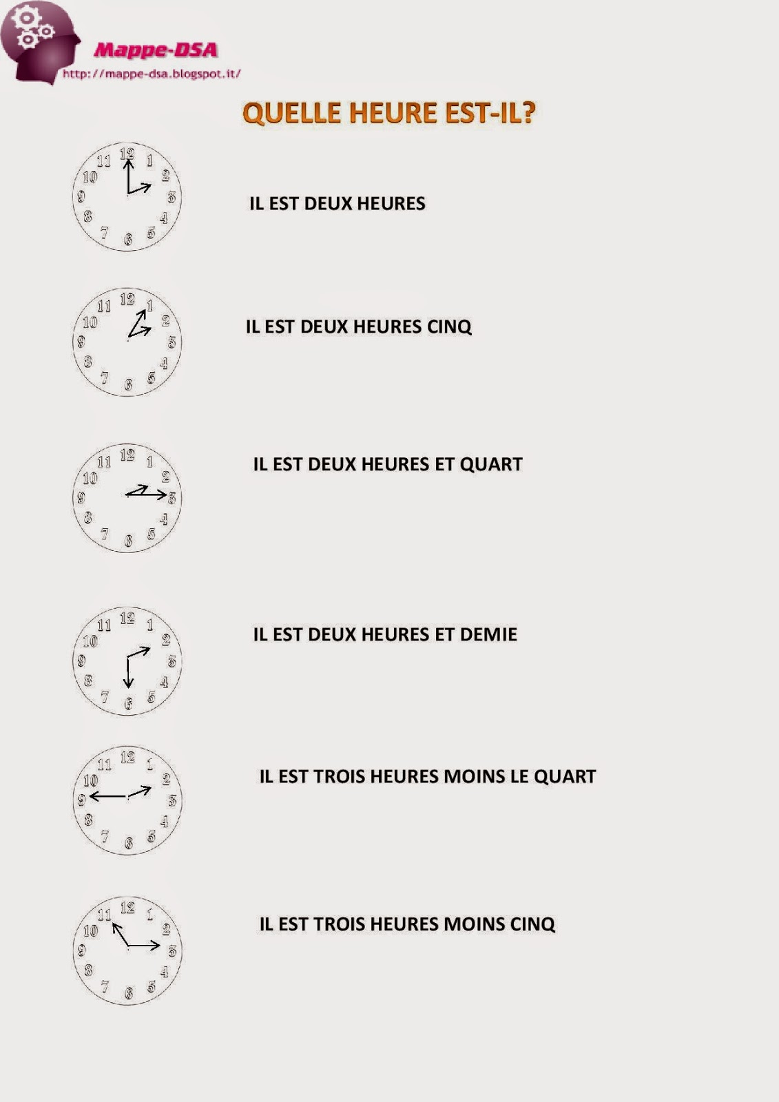mappa dsa schema ore francese quelle heure est il?