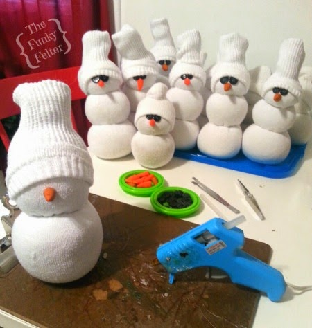 how to easily make a sock snowman by the funky felter