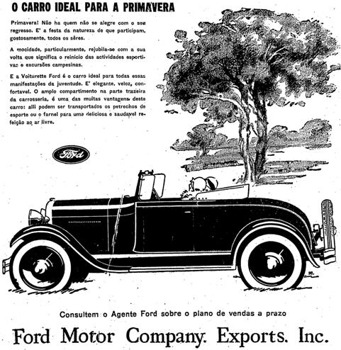 Propaganda do modelo Voiturette da Ford, apresentado em 1929.
