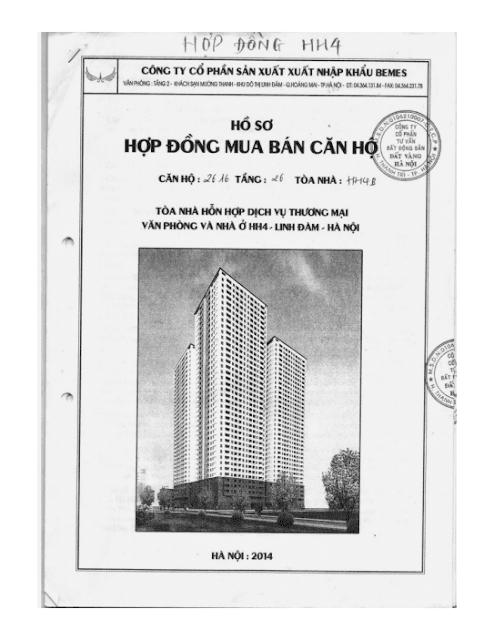 Bìa mẫu hợp đồng chung cư hh3 linh đàm
