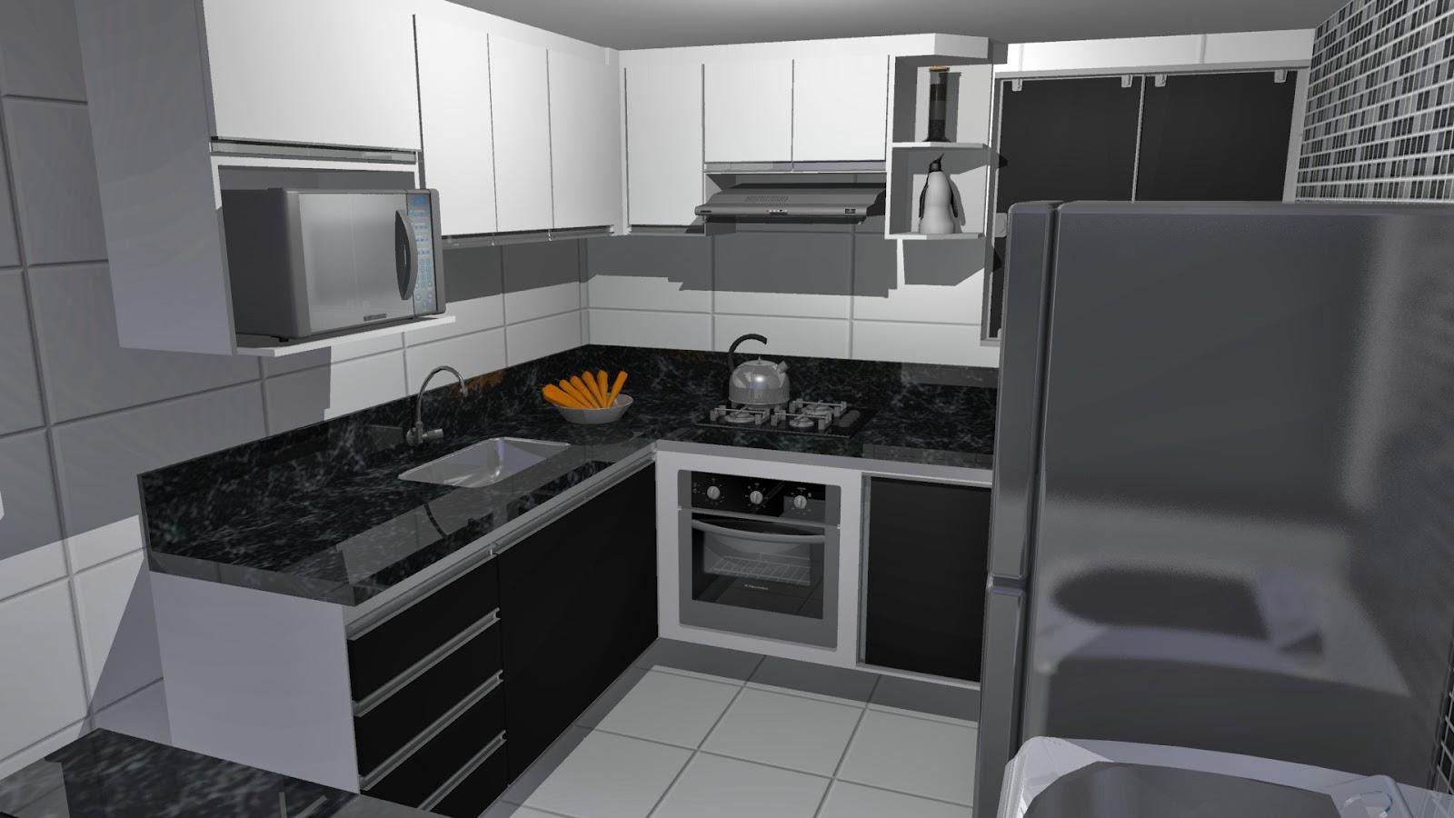 Campi Designer de interiores: Projeto Cozinha tipo Americana #794910 1600 900