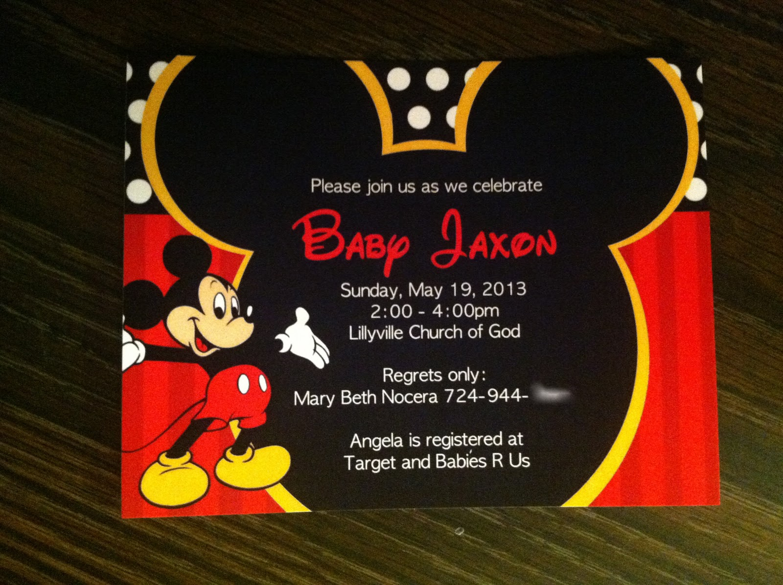 Renae Stamps Mickey Mouse Baby Shower