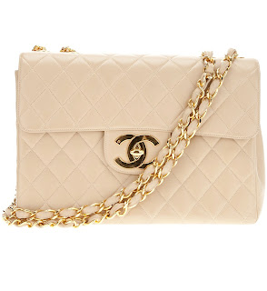 Vintage nude colored quilted leather Chanel bag with gold hardware