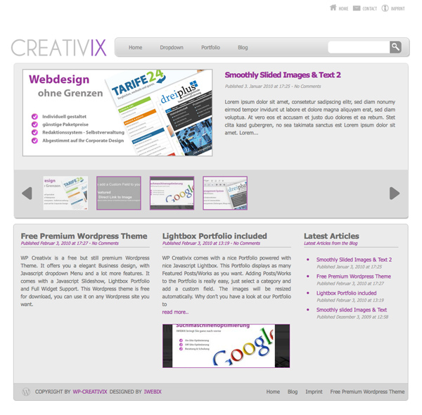 screen wp creativix 16 Best 2012 Free WordPress Themes