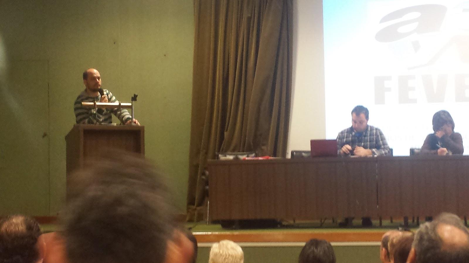 Jose Maria collados duranteuna de susintervenciones en la asamblea FEVESA 2014 en Béjar