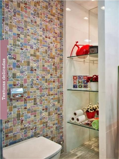 Construindo Minha Casa Clean Ladrilho Hidráulico Colorido na Decoração!!! -> Banheiro Decorado Ladrilho Hidraulico