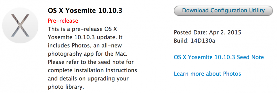 Mac OS X Yosemite 10.10.3 Beta 7 (Build-14D130a)
