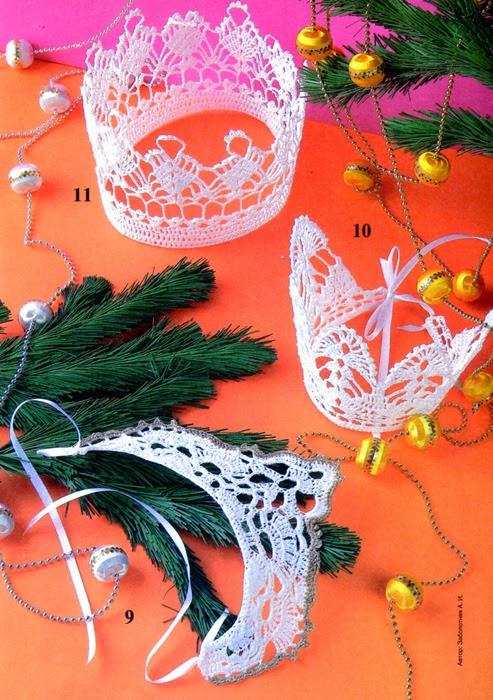 Coronas tejidas al crochet   Crochet y Dos agujas - Patrones de tejido