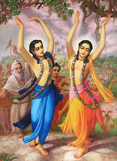 Chaitanya Mahaprabhu dancing on Hare Krishna