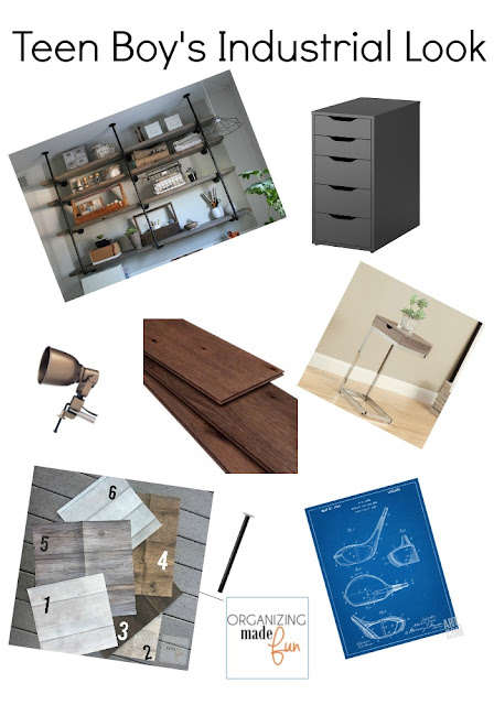 Teen Boy Industrial Look bedroom moodboard ::OrganizingMadeFun.com