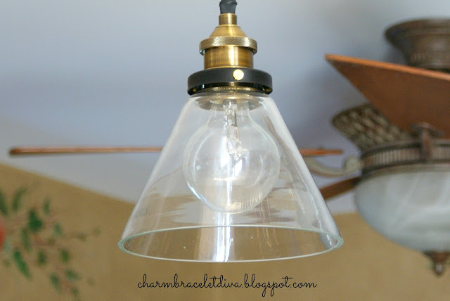 Industrial Style Tapered Glass Shade Pendant Light with Brass Holder