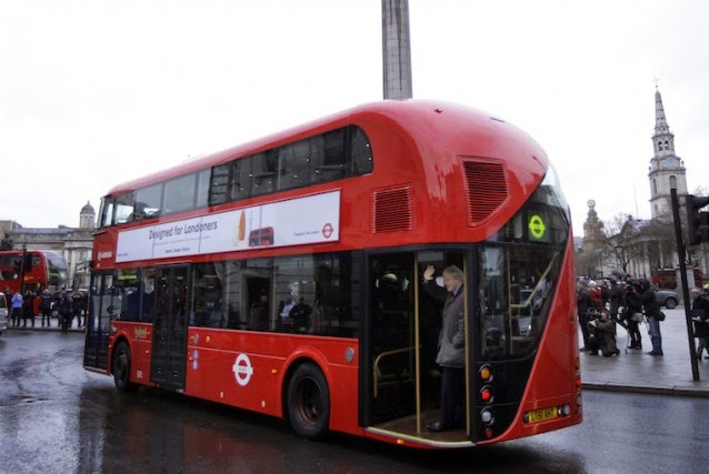 One of London's double-decker, hybrid fuel technology buses. {Credit: AP / Matt Dunham) Click to enlarge.