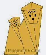 Bước 17: Vẽ mắt, mũi để hoàn thành cách xếp con khỉ mẹ cõng con bằng giấy theo phong cách origami.