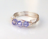 Wire Wrapped Ring in Provence Lavender