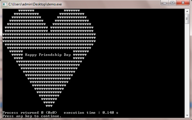 C++ Program to Print Heart Shape With Happy Friendship Day Message inside it