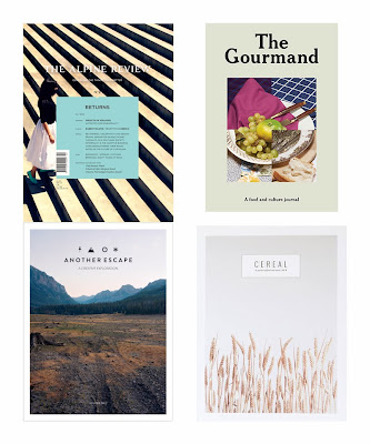 the alpine review magazine, the gourmand magazine, another escape magazine, cereal