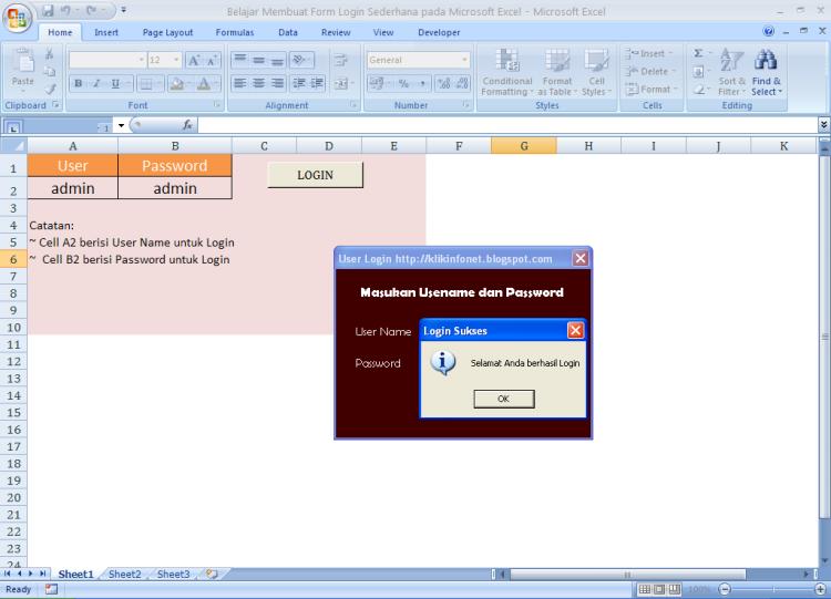Login Sukses - Belajar Membuat Form Login Sederhana pada Microsoft Excel