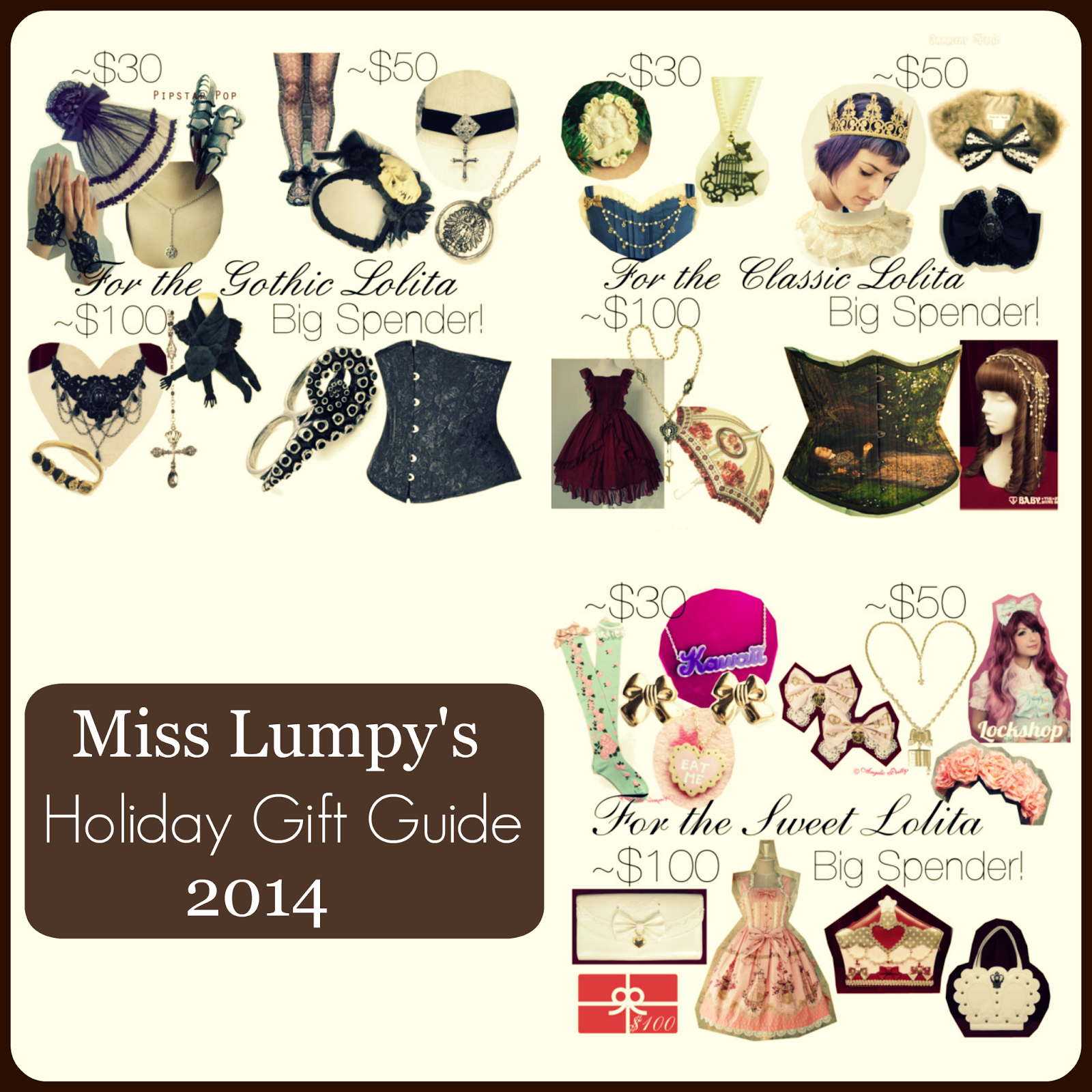 Compilation of gift guide images for classic, gothic, and sweet lolita fashion