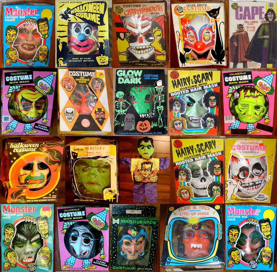 Assorted Vintage Plastic Halloween Masks | Blood Curdling Blog of ...