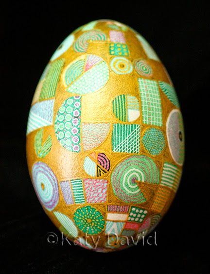 ©Katy David, Friday Egg: So Below, Goose Egg Pysanky with 23K Gilding