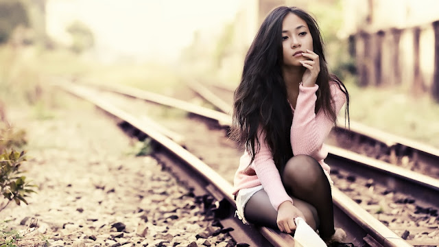 Asian Girl on the Tracks HD Wallpaper