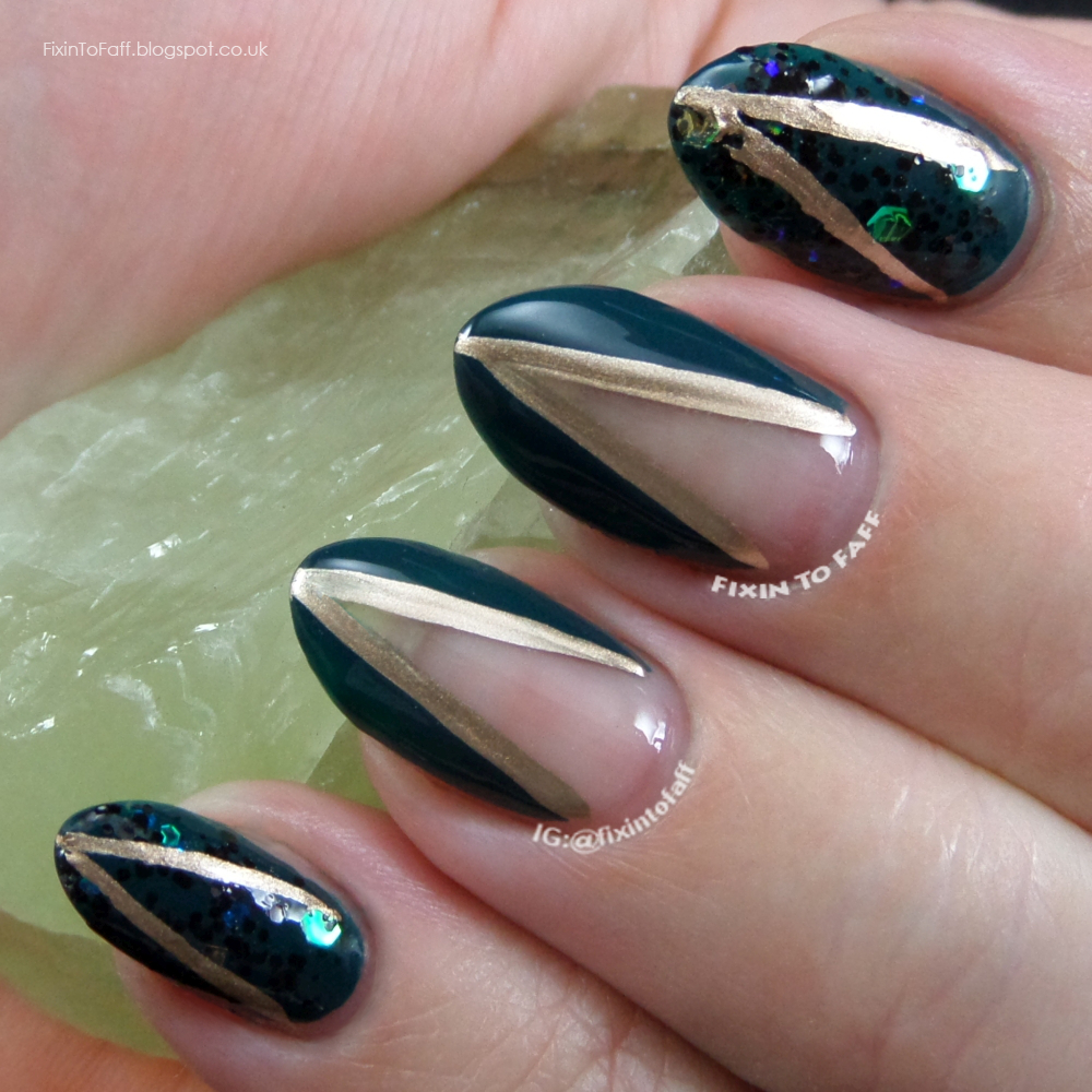 St. Patrick's Day nail art of green and gold plunging V designs, inspired by fashion for the Nail Challenge Collaborative.