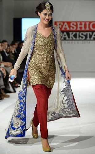 Pakistani Designer Clothes 2013 Fashion Show Pishwaz dress