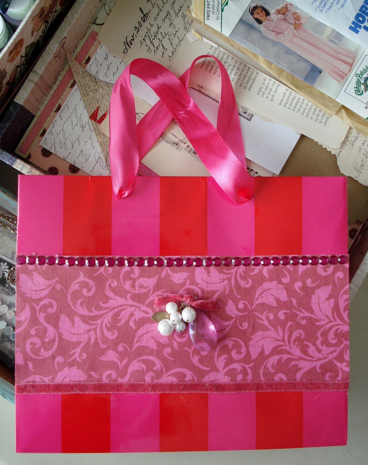 How To Make A Book Cover Out Of A Victoria S Secret Bag : A bit of heaven repurpose and reuse shopping bags