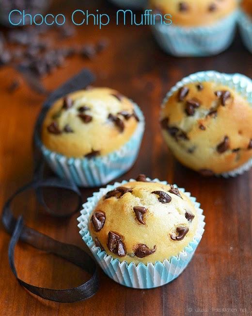 Eggless Choco chip muffins